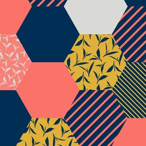 tea leaf hexagons - coral, navy, ocher and gray