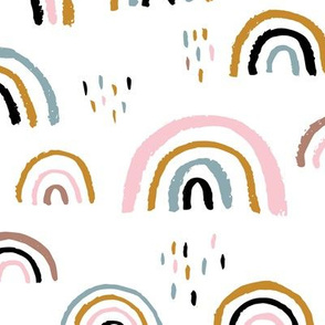 Rainbow love Scandinavian abstract rainbow clouds happy rain sky girls pink JUMBO