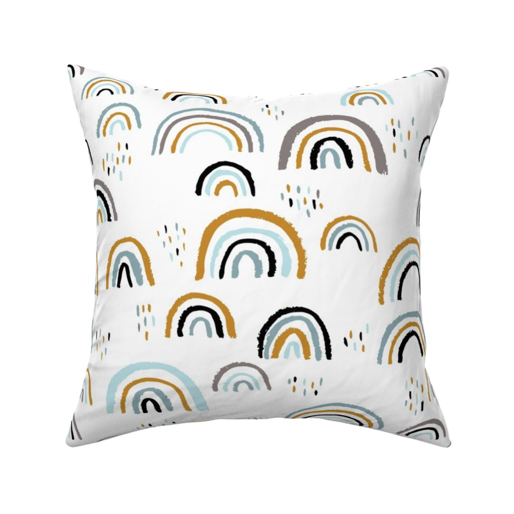 Catalan Throw Pillow featuring Rainbow love Scandinavian abstract rainbow clouds happy rain sky gender neutral blue JUMBO by littlesmilemakers