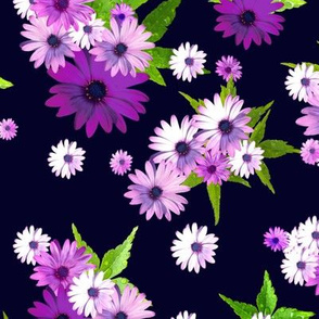 Scattered pink Flowers - Navy background