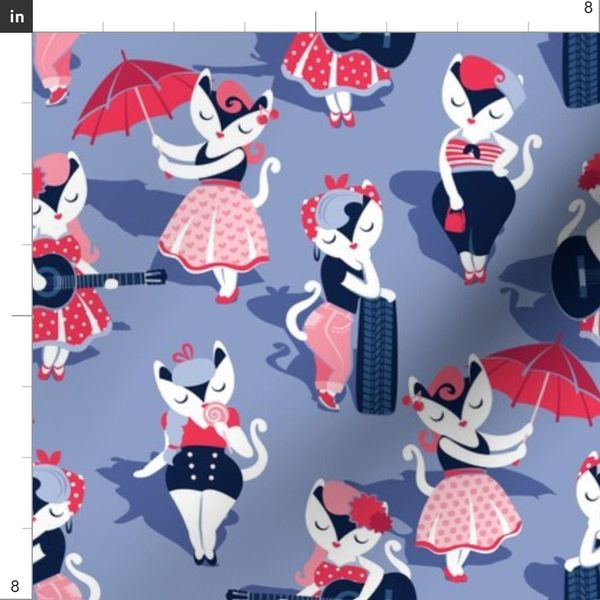Fabric By The Yard Rockabilly Cats Small Scale Indigo Blue Background White Pin Up Cats In Fancy Red Pink And Navy Blue Outfits