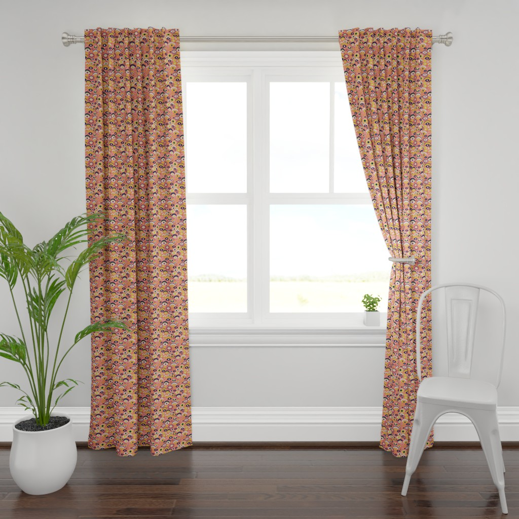 Plymouth Curtain Panel featuring Eyes Over Coral by miranema