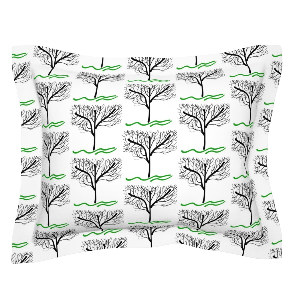 Sebright Pillow Sham featuring Trees Breathe Life (Winter) by bravenewart