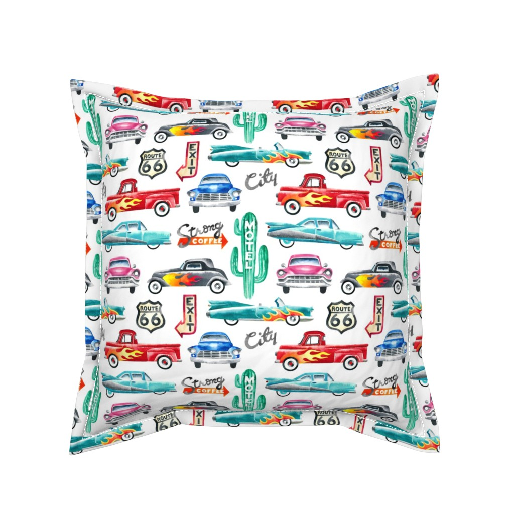 Serama Throw Pillow featuring watercolor rockabilly cars by mirabelleprint