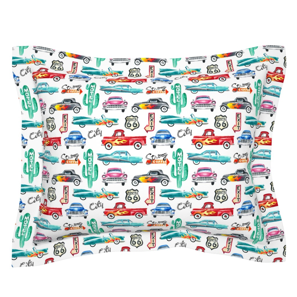 Sebright Pillow Sham featuring watercolor rockabilly cars by mirabelle_print