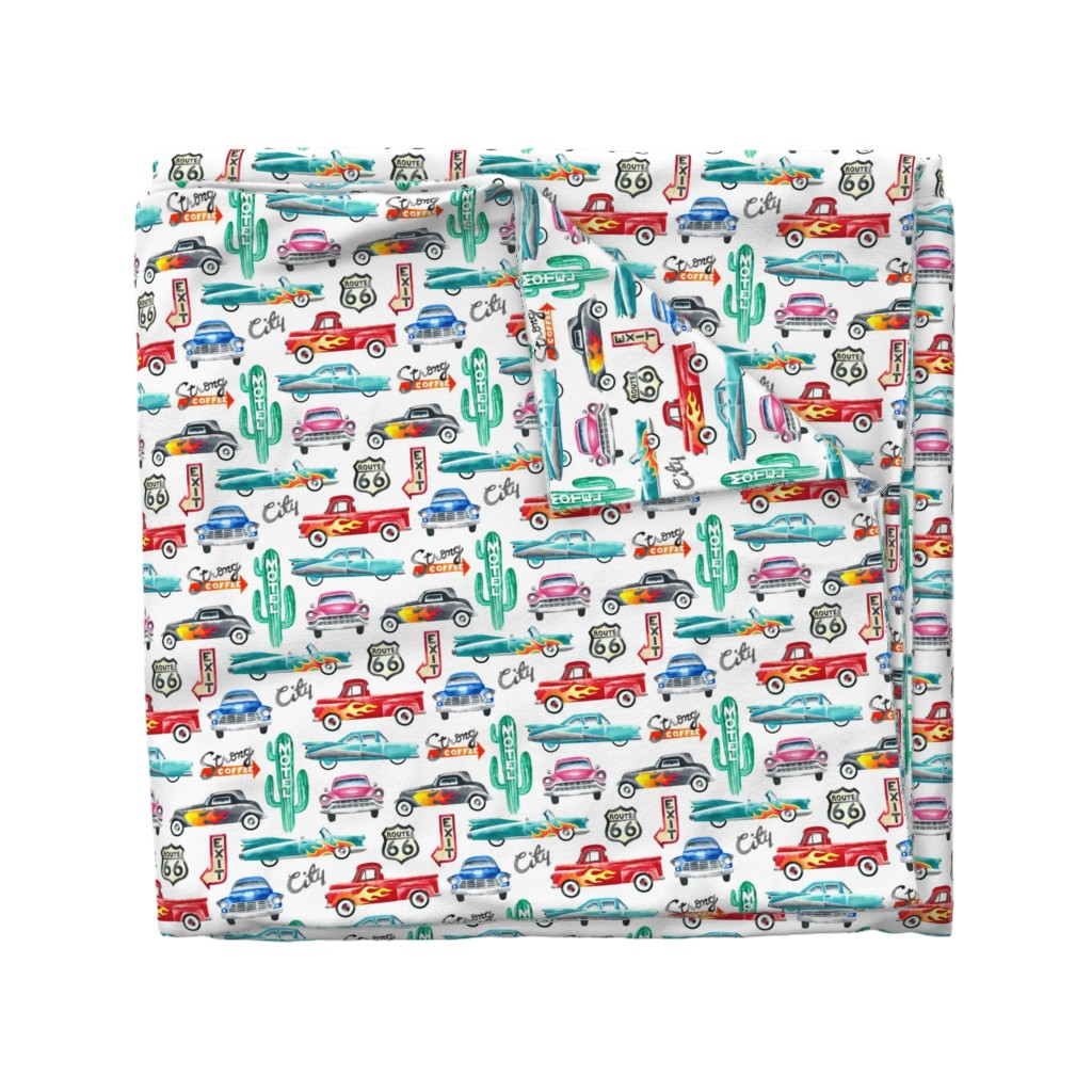Wyandotte Duvet Cover featuring watercolor rockabilly cars by mirabelleprint