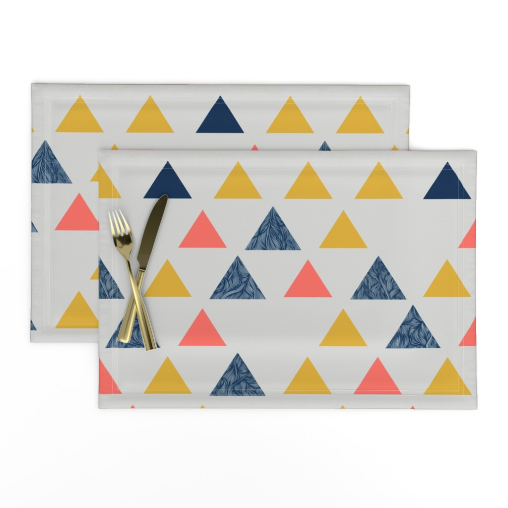 Lamona Cloth Placemats featuring Triangle pattern - living coral by doodlena