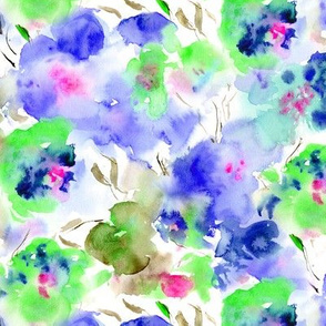 blooming bouquet in blue || watercolor floral pattern
