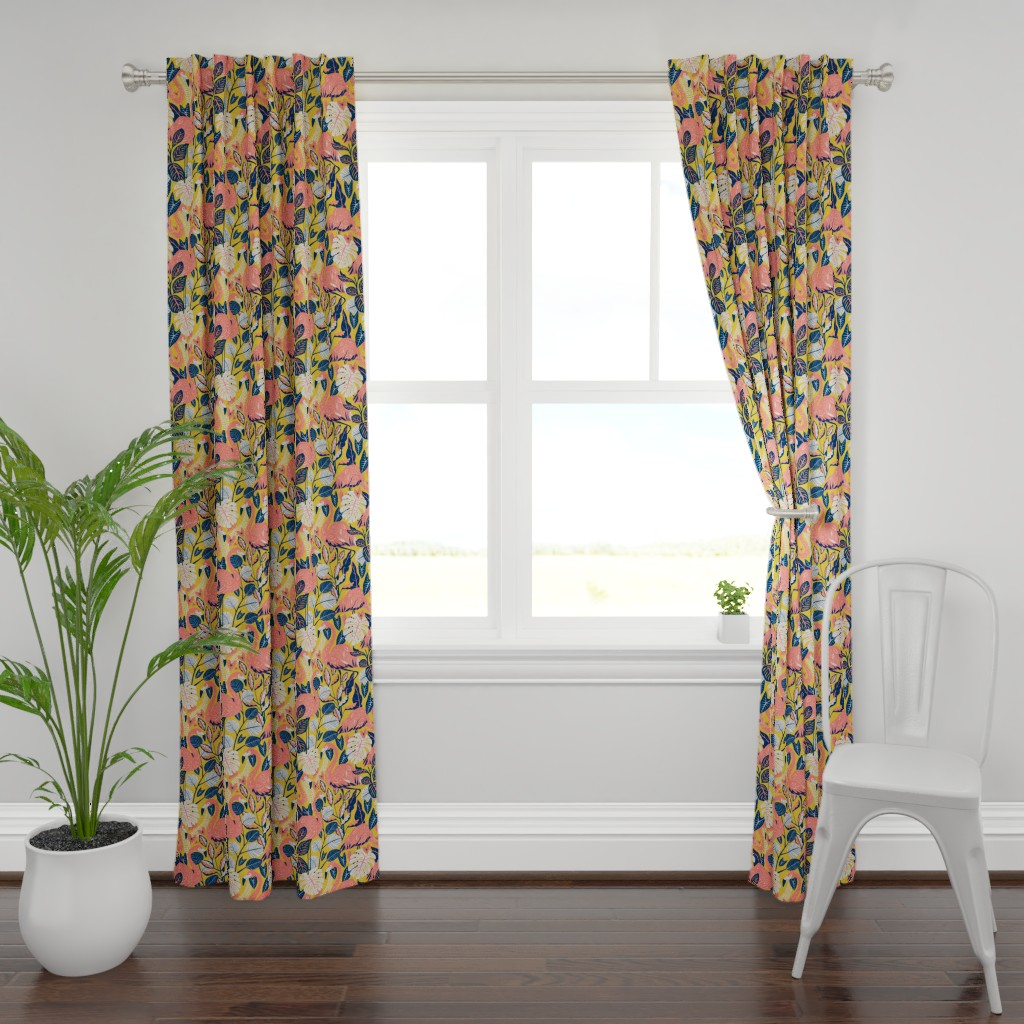 Plymouth Curtain Panel featuring coral gables flamingo  by michaelzindell