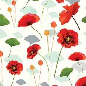 Coral Poppy and Cream