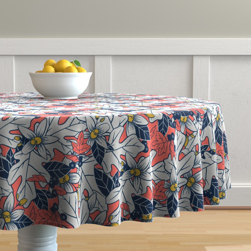 Malay Round Tablecloth featuring Orange Blossom and Coral by washburnart