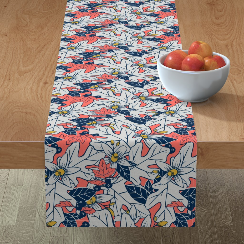 Minorca Table Runner featuring Orange Blossom and Coral by washburnart