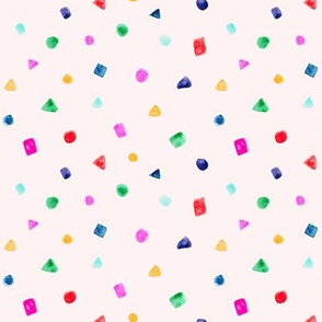 Watercolor confetti on pink || cute pattern for baby girl nursery