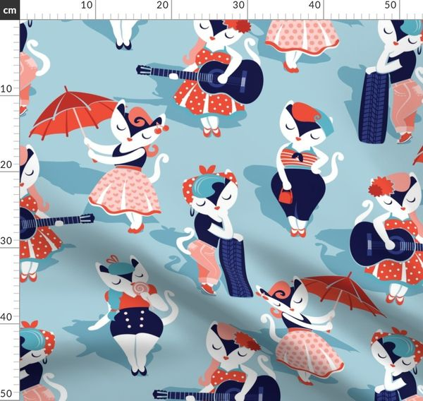 Fabric By The Yard Rockabilly Cats Normal Scale Pastel Blue Background White Pin Up Cats In Fancy Orange And Navy Blue Outfits