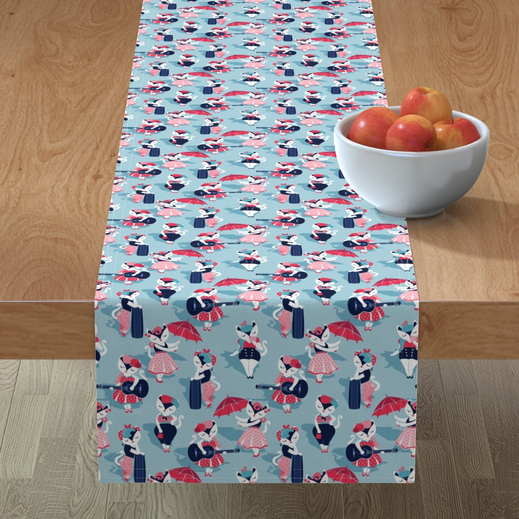 Minorca Table Runner featuring Rockabilly cats // small scale // pastel blue background white pin-up cats in fancy red pink and navy blue outfits by selmacardoso