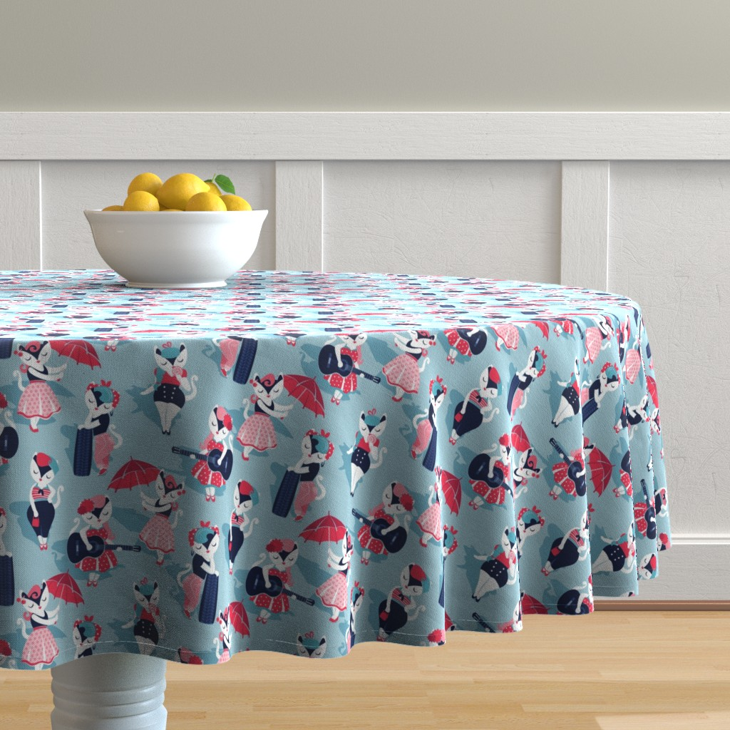 Malay Round Tablecloth featuring Rockabilly cats // small scale // pastel blue background white pin-up cats in fancy red pink and navy blue outfits by selmacardoso