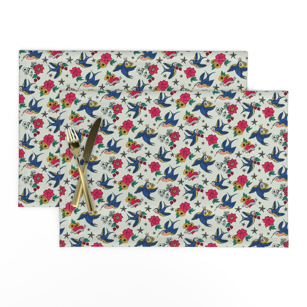 Lamona Cloth Placemats featuring Rockabilly Birds by jacquelinehurd