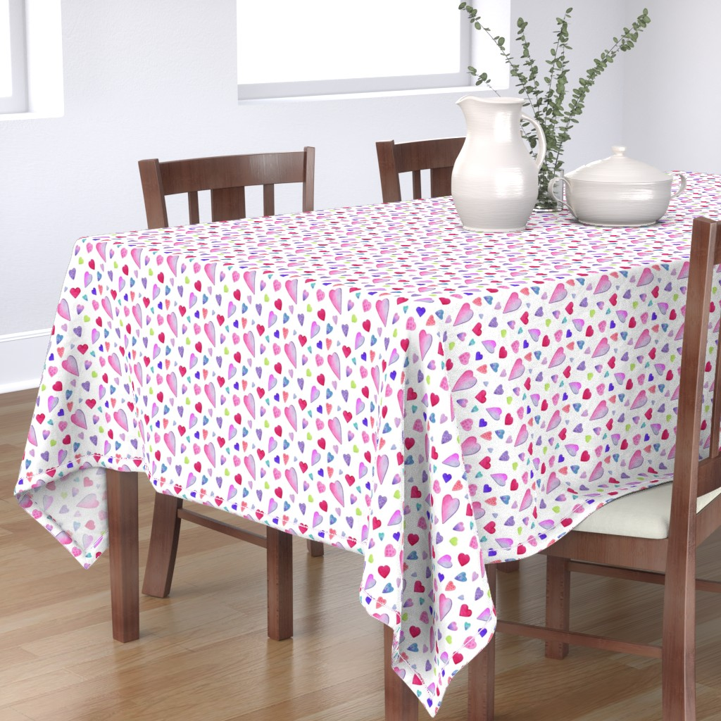 Bantam Rectangular Tablecloth featuring Fancy Watercolor Hearts on white by dreamoutloudart