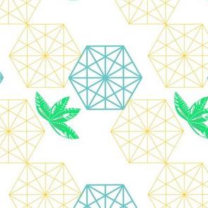 hexagon leaves golden