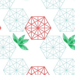hexagon leaves red withe