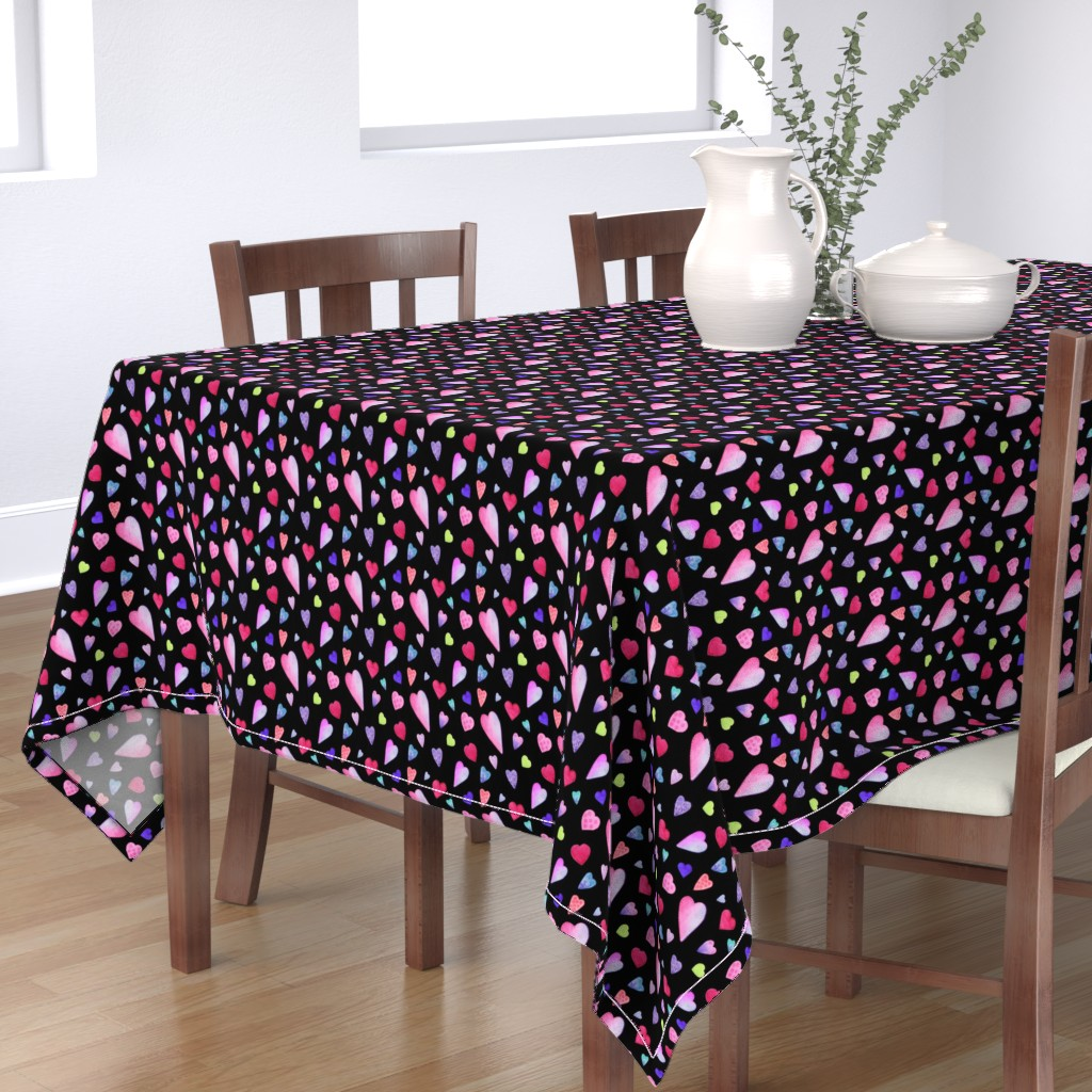 Bantam Rectangular Tablecloth featuring Fancy Watercolor Hearts on black by dreamoutloudart