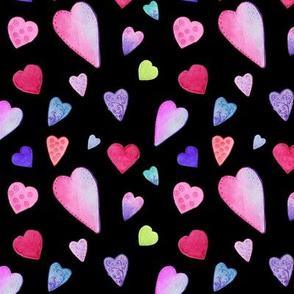 Fancy Watercolor Hearts on black