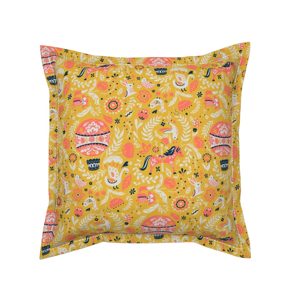 Serama Throw Pillow featuring Folk Faire Celebration by thestorysmith