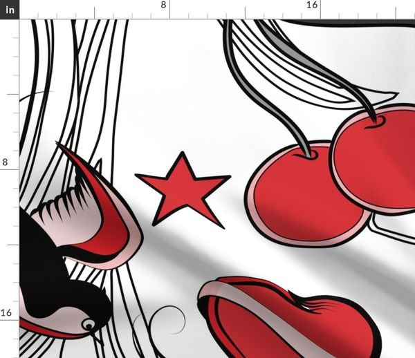 Cherry, Hearts, bird and stars on Rockab - Spoonflower