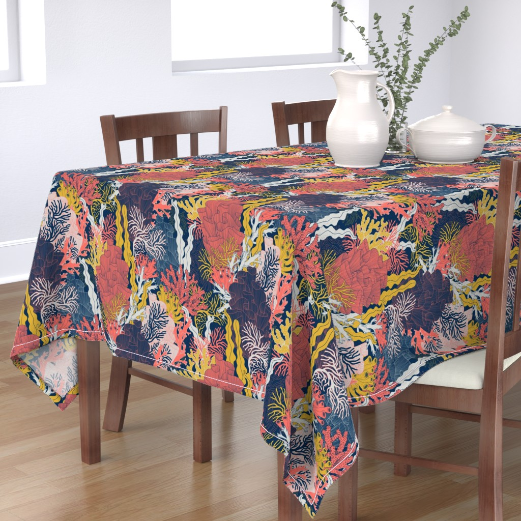 Bantam Rectangular Tablecloth featuring Coral by j9design