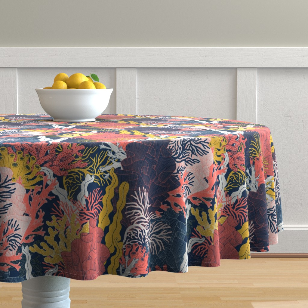 Malay Round Tablecloth featuring Coral by j9design