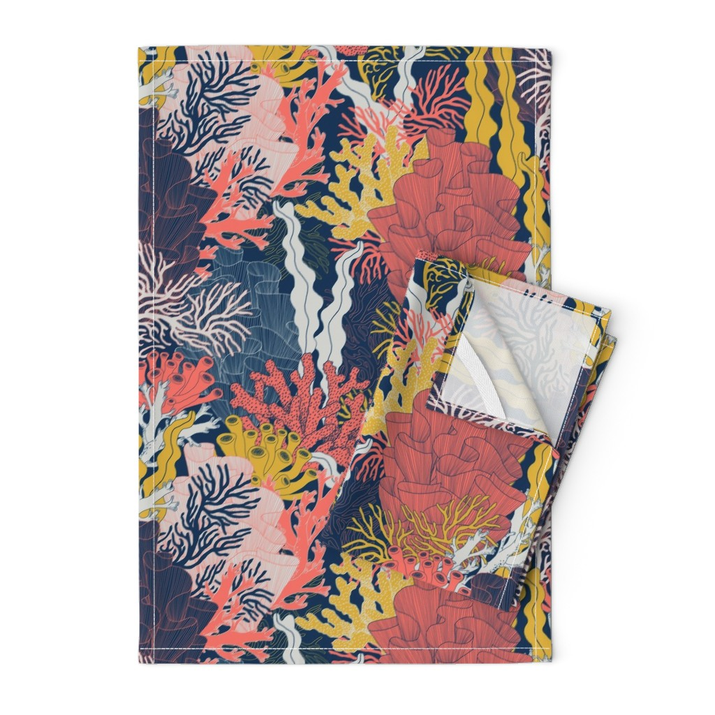 Orpington Tea Towels featuring Coral by j9design