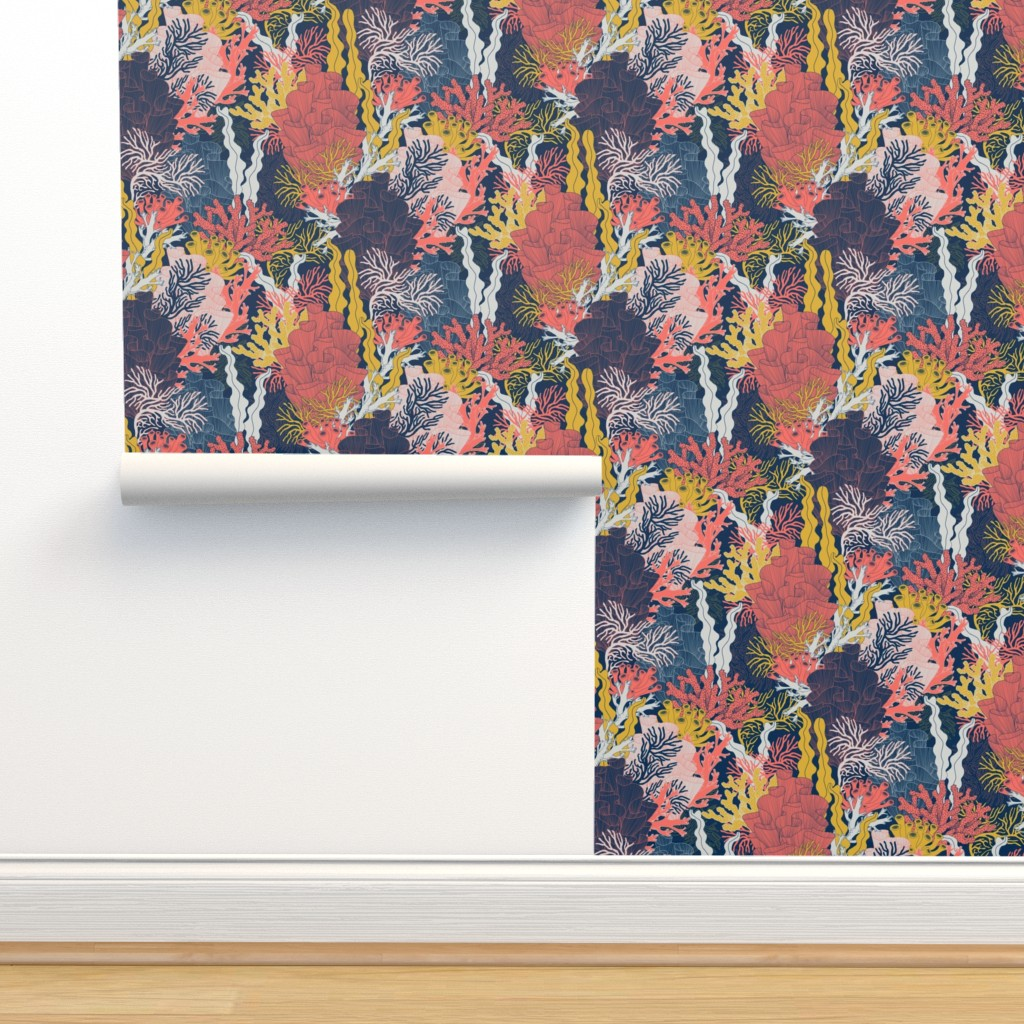 Isobar Durable Wallpaper featuring Coral by j9design
