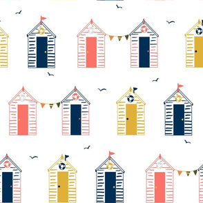 Beach Huts and Bunting, summers day