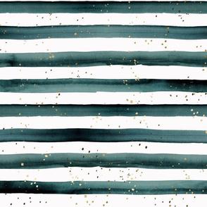 stripe teal gold dots-L