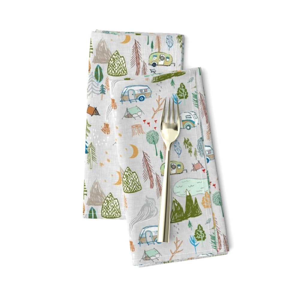 Amarela Dinner Napkins featuring Happy Camper (grey) MED by nouveau_bohemian