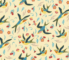 swallows and cherry tree