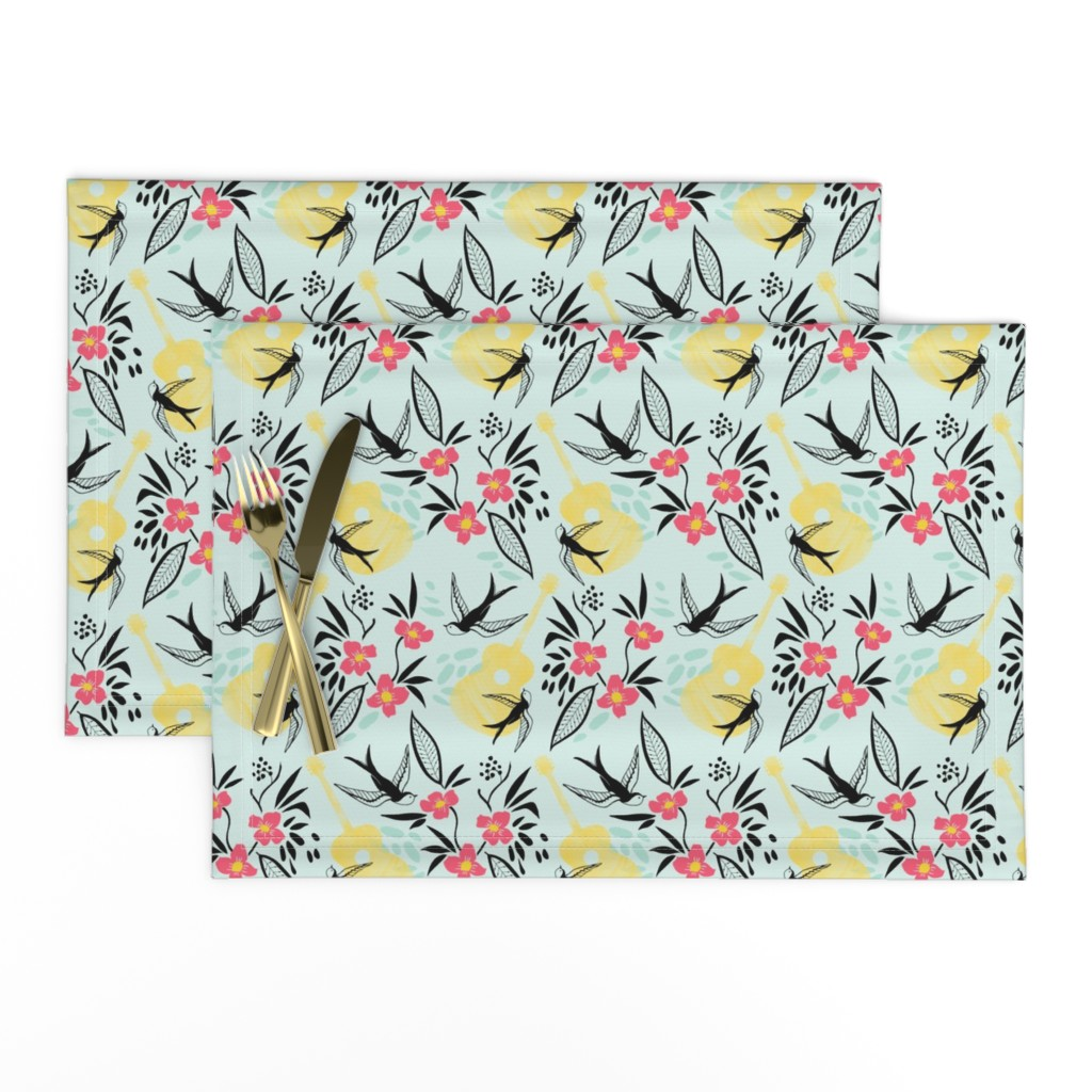 Lamona Cloth Placemats featuring Rockabirdie- Swallows and Acoustic Guitars by katie_hayes