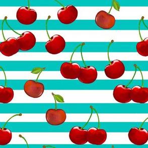 Sweet Cherries  Turquoise & White Stripes