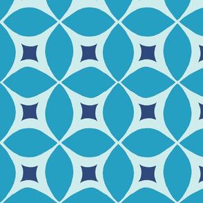 Mid century Modern blue geometric large  pattern with retro starburst