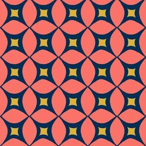 Coral  and yellow Geometric Circle pattern