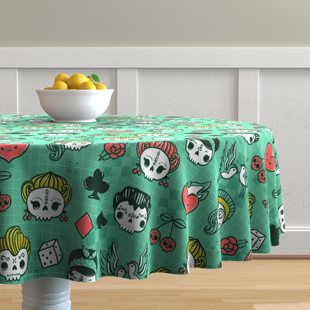 Malay Round Tablecloth featuring Rockabilly kawaii tattoo skulls, birds, cute heart, card suits  by kostolom3000