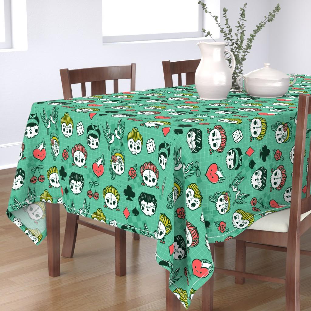 Bantam Rectangular Tablecloth featuring Rockabilly kawaii tattoo skulls, birds, cute heart, card suits  by kostolom3000