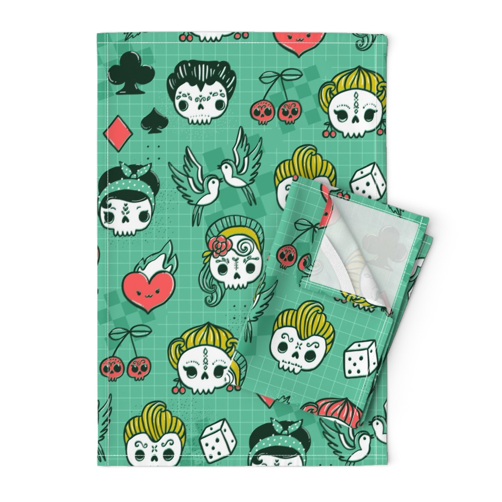 Orpington Tea Towels featuring Rockabilly kawaii tattoo skulls, birds, cute heart, card suits  by kostolom3000