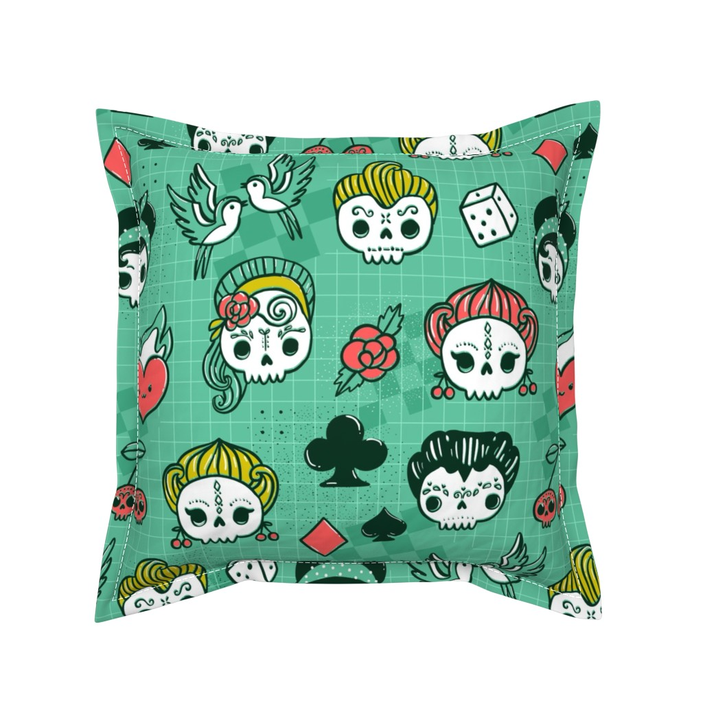 Serama Throw Pillow featuring Rockabilly kawaii tattoo skulls, birds, cute heart, card suits  by kostolom3000