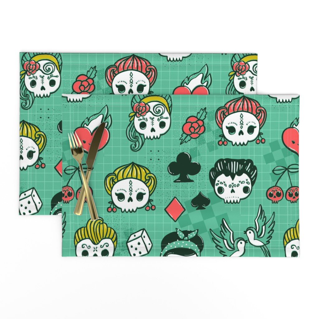 Lamona Cloth Placemats featuring Rockabilly kawaii tattoo skulls, birds, cute heart, card suits  by kostolom3000