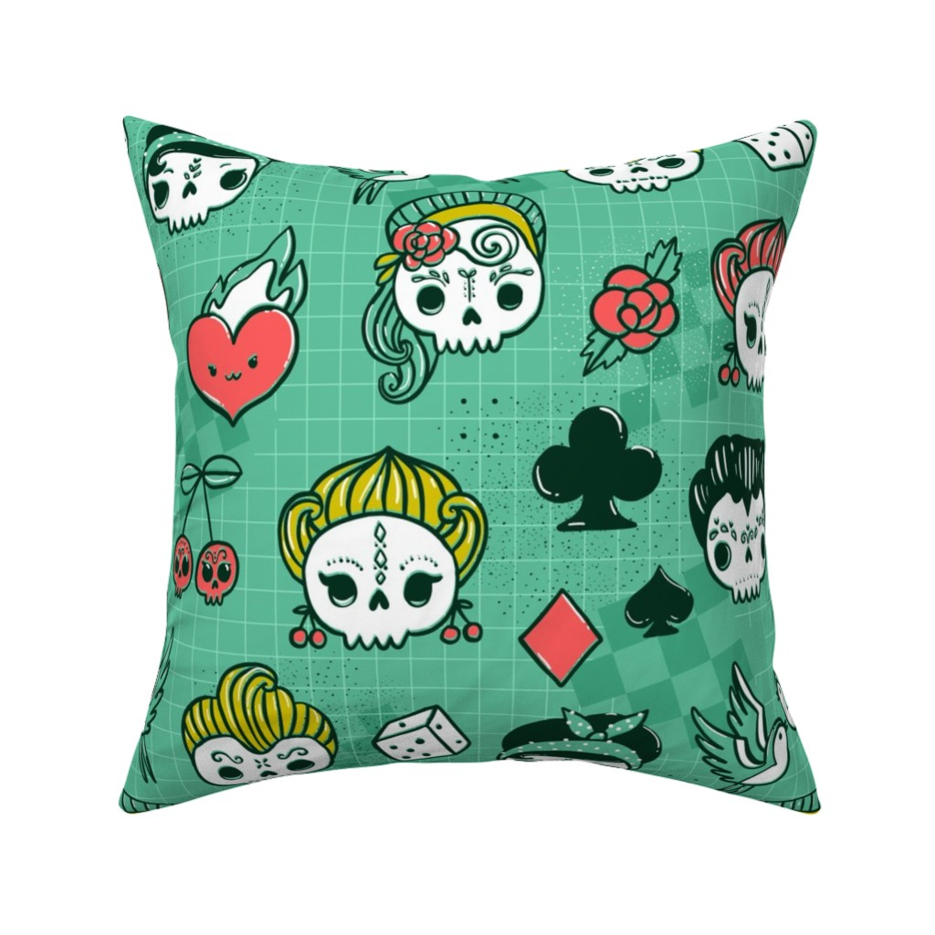 Catalan Throw Pillow featuring Rockabilly kawaii tattoo skulls, birds, cute heart, card suits  by kostolom3000