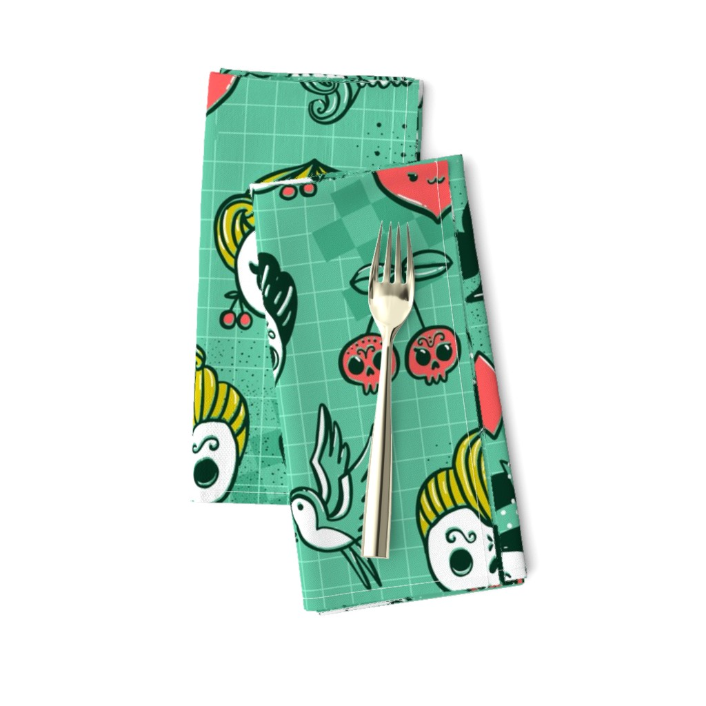 Amarela Dinner Napkins featuring Rockabilly kawaii tattoo skulls, birds, cute heart, card suits  by kostolom3000