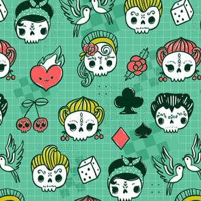 Rockabilly kawaii tattoo skulls, birds, cute heart, card suits