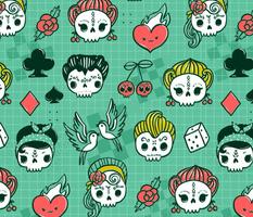 Rockabilly kawaii tattoo skulls, birds, cute heart, card suits