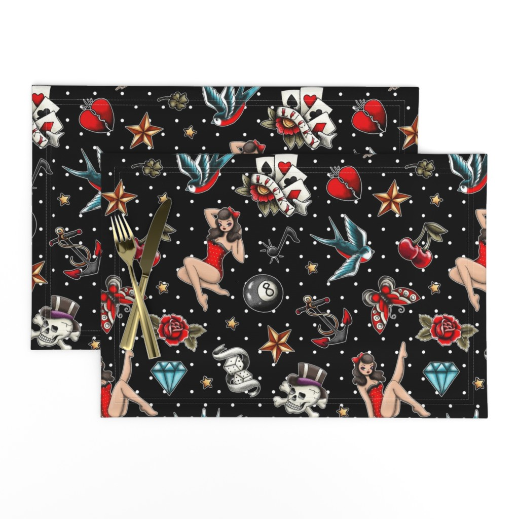 Lamona Cloth Placemats featuring Rockabilly fun by whimsical_brush